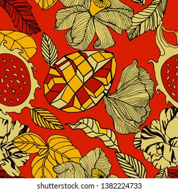 Tropical fruits and flowers, bright pattern design.
