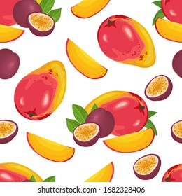 Tropical fruits isolated on white background. Food Seamless Pattern. Vector illustration of mango and passion fruit whole and slices in cartoon flat style.