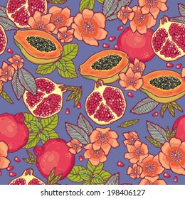 Tropical fruits pattern.