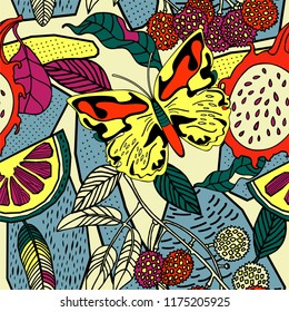 Tropical fruits and plants, exotic print.  Botanical Motifs scattered random.