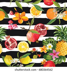 Tropical Fruits Seamless Background, Summer Pattern in Vector. Illustration of Oranges, Lemons, Pomegranates, Pineapple, Flowers and Leaves.
