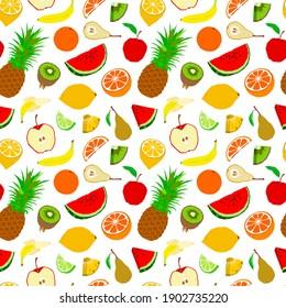 Tropical fruits seamless pattern flat style