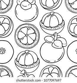 Tropical fruits seamless pattern. mangosteen vector background. Black and white doodle rapport