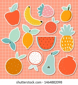 Tropical fruits sticker set. Summer cartoon graphic. Vector hand drawn illustration.