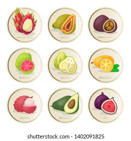 Tropical fruits stickers vector illustrations set. Sliced exotic pomelo, guava, kumquat, dragon fruit, papaya, passion fruit, lychee, avocado and fig. isolated cliparts. Juicy fruits design elements