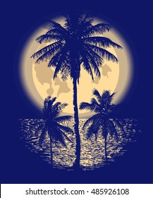 Tropical Full Moon over the ocean. Reflection of palm trees and tropical moon night. Vector