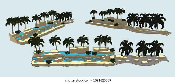 Tropical Garden, Vector & Illustration