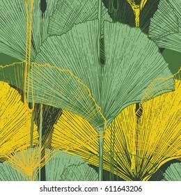 Tropical ginkgo biloba leaves. Hand Drawn Seamless Vector Pattern.