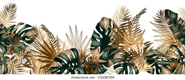 Tropical golden and emerald leaves seamless pattern border frame with vector image - Shutterstock ID 1763387285