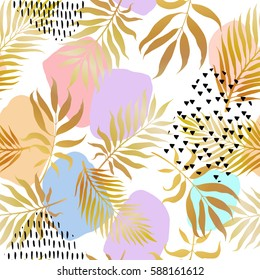Tropical golden palm leaves background, Exotic seamless pattern with colorful stain and brshstrokes texture
