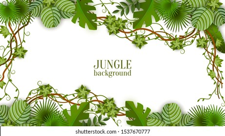Tropical green background and frame with jungle, vines, exotic leaves and plants. Summer background with rainforest and jungle. Isolated vector flat illustration in jungle style.