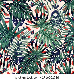 Tropical green palm banana monstera leaves on vivid ethnic background tribal ornament. Seamless vector exotic beach pattern on summer floral artistic backdrop