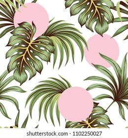 Tropical green palm leaves and monstera leaves seamless pattern pink rounds background. Exotic wallpaper