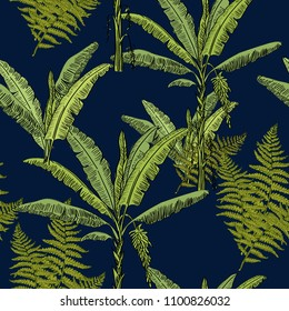 Tropical hand drawn exotic collection seamless pattern with banana palms and fern on dark blue background. Jungle exotic pattern.