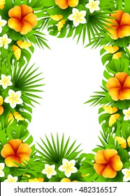 Tropical hawaiian background with jungle palm tree leaves, exotic flowers and yellow butterflies. Vertical vector  invitation banners with hibiscus floral decorations and copy space