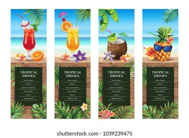 Tropical Hawaiian cocktail menu. Beach bar. Template design. Vector illustration.