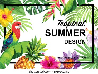 Tropical Hawaiian design with birds, palm leaves and exotic flowers. Square frame. Vector illustration.