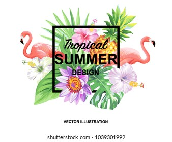 Tropical Hawaiian design with flamingos, palm leaves and exotic flowers. Square frame. Vector illustration.