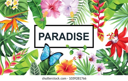 Tropical Hawaiian design with palm leaves and exotic flowers. Vector illustration.