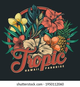 Tropical hawaiian floral colorful label in vintage style with pineapple palm and monstera leaves hibiscus and plumeria flowers isolated vector illustration