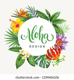 Tropical Hawaiian flyer with exotic flowers and palm leaves. Round frame. Template design. Vector illustration.