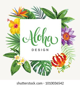 Tropical Hawaiian flyer with palm leaves and exotic flowers. Square frame. Vector illustration.