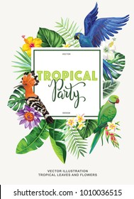 Tropical Hawaiian party invitation with birds, palm leaves and exotic flowers. Square frame. Vector illustration.