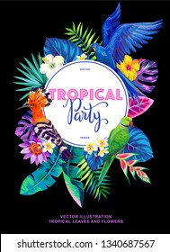Tropical Hawaiian party invitation with birds, palm leaves and exotic flowers. Round frame. Vector illustration.