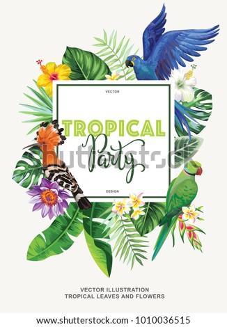 tropical hawaiian party invitation birds palm stock vector royalty