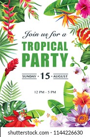 Tropical Hawaiian party invitation with exotic flowers and leaves. Vector illustration.