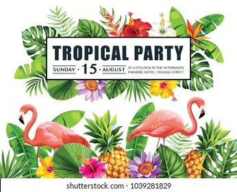 Tropical Hawaiian party invitation with flamingos, pineapples, palm leaves and exotic flowers. Template design. Vector illustration.