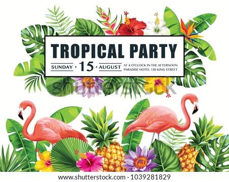 stock vektory na téma tropical hawaiian party invitation flamingos