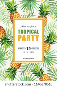Tropical Hawaiian party invitation with palm leaves and pineapples on a white background. Square frame. Vector illustration.