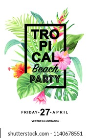 Tropical Hawaiian party invitation with palm leaves and exotic flowers. Square frame. Vector illustration.
