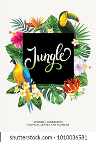Tropical Hawaiian poster with birds, palm leaves and exotic flowers. Square frame. Vector illustration.