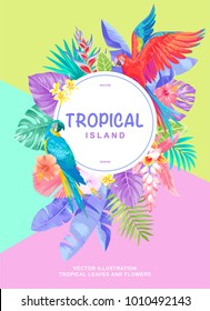Tropical Hawaiian poster with birds, palm leaves and exotic flowers. Round frame. Vector illustration.