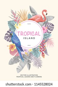 Tropical Hawaiian poster with parrot, flamingo, palm leaves and exotic flowers. Round frame. Vector illustration.