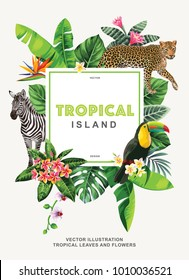 Tropical Hawaiian poster with wild animals, birds, palm leaves and exotic flowers. Square frame. Vector illustration.