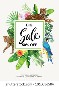 Tropical Hawaiian sale flyer with wild animals, birds, palm leaves and exotic flowers on a black background. Square frame. Vector illustration.