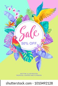 Tropical Hawaiian sale poster with birds, palm leaves and exotic flowers. Round frame. Vector illustration.
