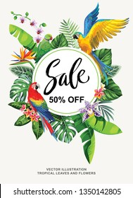Tropical Hawaiian sale poster with birds, palm leaves and exotic flowers. Template design. Round frame. Vector illustration.