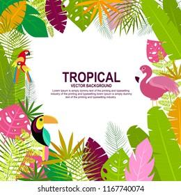 Tropical Hawaiian Summer themed background. Vector Illustration