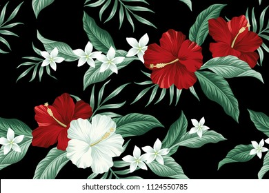 Tropical Hawaiian vintage flower red hibiscus and white plumeria floral green palm leaves seamless pattern black background. Exotic jungle wallpaper.