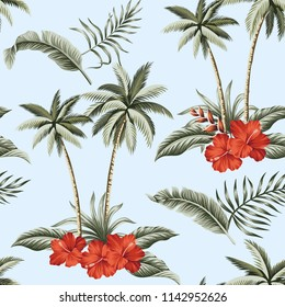 Tropical Hawaiian vintage palm trees, red hibiscus and banana leaves floral seamless pattern. Exotic summer wallpaper.