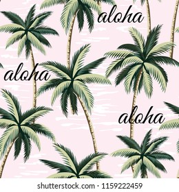 Tropical Hawaiian vintage palm trees floral seamless pattern. Aloha slogan illustration.