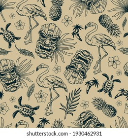 Tropical hawaiian vintage seamless pattern with flamingo birds feathers pineapples turtles wooden tiki masks palm trees exotic leaves and flowers in monochrome style vector illustration