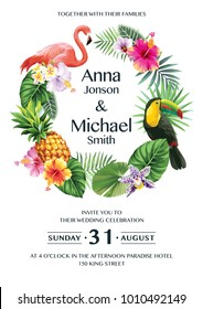 Tropical Hawaiian wedding invitation with birds, palm leaves and exotic flowers. Round frame. Vector illustration.