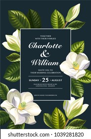 Tropical Hawaiian wedding invitation with magnolia flowers. Template design. Vector illustration.