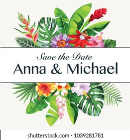Tropical Hawaiian wedding invitation with palm leaves and exotic flowers. Template design. Vector illustration.