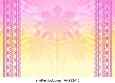 Tropical hazy background with palm trees, sun rays and tratitional Hawaiian or Polynesian folk ornaments